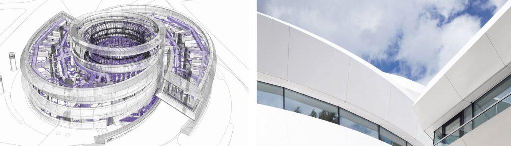 Ansicht Fassadenplanung und fertige Fassadenelemente mit Duraflon.